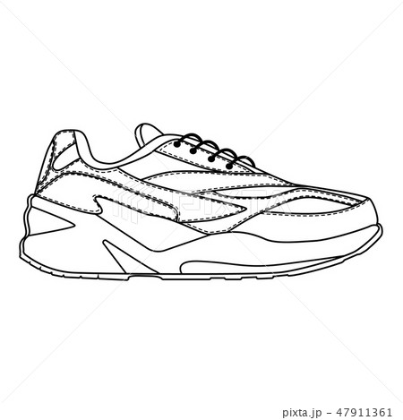 Men shoes sneakers trainers isolated. Male man season shoes or running icons. Technical sketch. 47911361