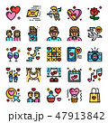 バレンタイン アイコン ハートのイラスト 47913842