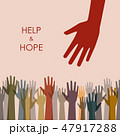Earth tone color help and hope hands background 47917288