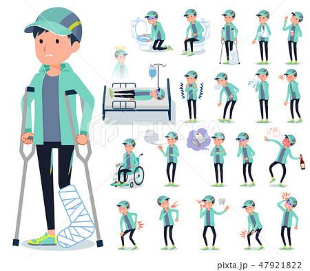 flat type man Blue green Sportswear_sickness 47921822