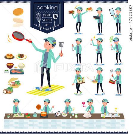 flat type man Blue green Sportswear_cooking 47921837