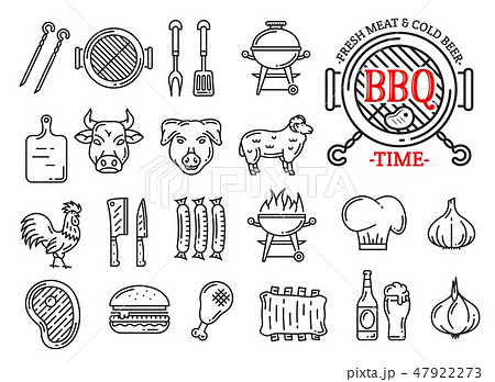 Barbecue meat and sausages grill bar line icons 47922273