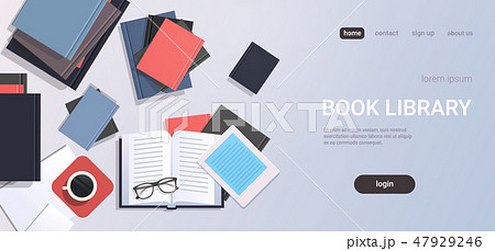 workplace desk textbooks e-book top angle view book library education learning concept flat copy 47929246