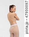 Beautiful sexy slim woman on white background 47930097