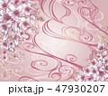 手描き桜紫和柄 47930207