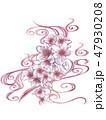 手描き桜紫和柄 47930208