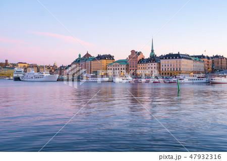 Stockholm skyline at twilight in Stockholm, Sweden 47932316