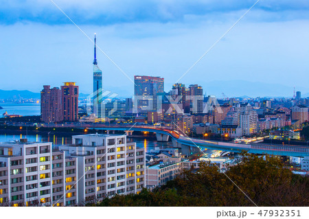 Hakata cityscape at night in Fukuoka, Japan 47932351