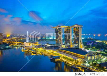 Panorama view of Singapore city skyline 47932389