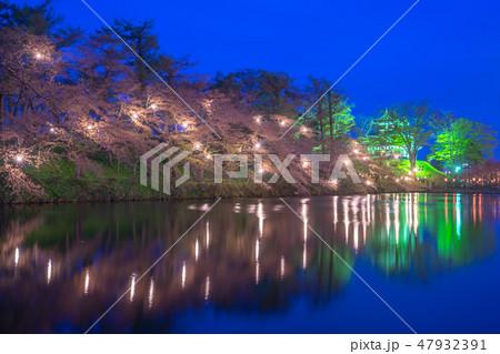 Cherry Blossom Festival in Takada Castle at night 47932391