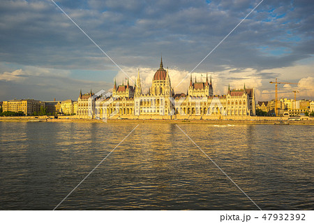 Budapest city skyline with Parliament Building 47932392