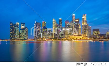 Panorama view of Singapore city skyline 47932403