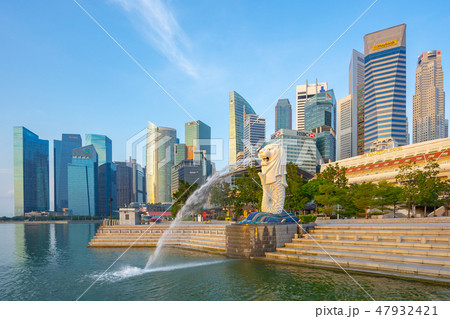 Singapore city skyline with landmark buildings 47932421