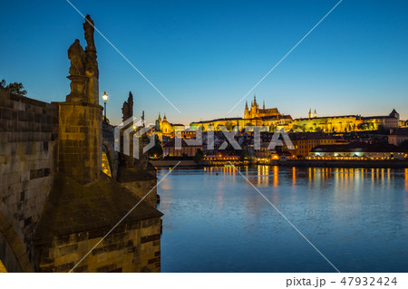 Prague city skyline with view of Vltava River 47932424