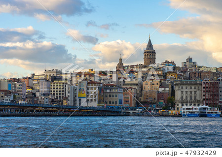 Istanbul city skyline with Galata Tower in Turkey 47932429