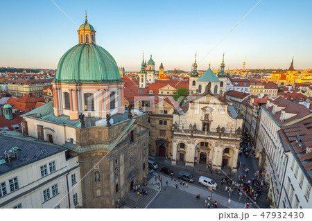 Sunset view of Prague old town in Czech Republic 47932430