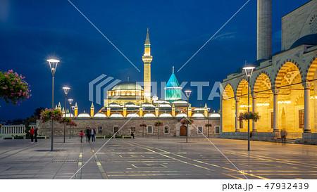 View of Mevlana Museum at night in Konya, Turkey 47932439