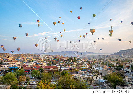 Cappadocia city skyline with hot air balloon 47932447