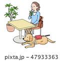日本ユニバーサルマナー協会監修素材 盲導犬と店へ2 47933363