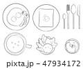 洋風朝食セット-線画 47934172