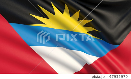 Flag of Antigua and Barbuda. Waved highly detailed fabric texture. 47935979