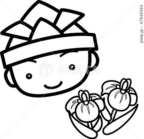 端午の節句 折り紙の兜 男の子 菖蒲 ぬり絵のイラスト素材