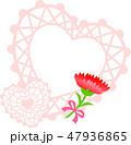 母の日メッセージカード ハートのピンク カーネーション 47936865