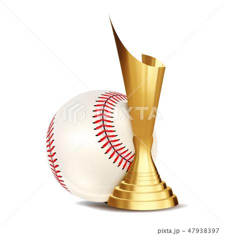 Baseball Game Award Vector. Baseball Ball, Golden Cup. Modern Tournament. Design Element For Sport 47938397