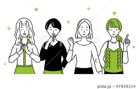 女性達が並んだイラスト。 47939154