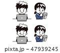 スマートフォン ノートパソコン 高校生のイラスト 47939245