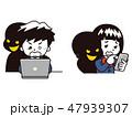 スマートフォン ノートパソコン 犯罪者のイラスト 47939307