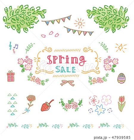 春 手描き アイコン フレーム イラスト 47939585