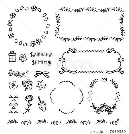 春 手描き アイコン フレーム イラスト モノクロ 47939589