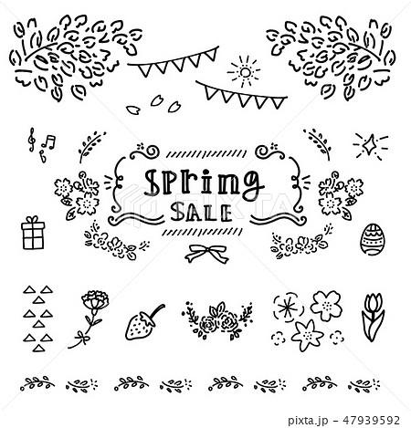 春 手描き アイコン フレーム イラスト モノクロ 47939592