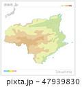 徳島県の地図(等高線・色分け) 47939830
