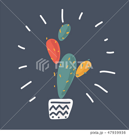 The prickly pear cactus. Vector illustration. 47939936