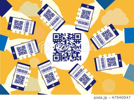 QRコードを読み取るスマホの画面フレーム-コピースペース黄色背景 47940047