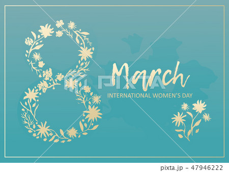 Tender blue card for 8 march with golden flowers 47946222