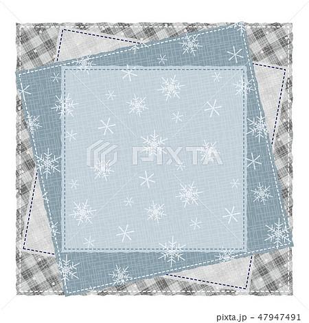 パッチワーク風 パターン柄フレーム 背景素材 テキストスペース  雪の結晶 47947491