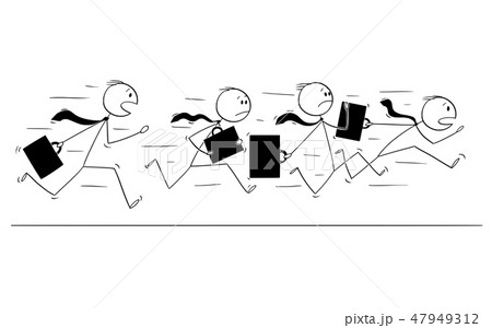 Cartoon of Group or Team of Businessmen With Briefcases Running in Panic 47949312