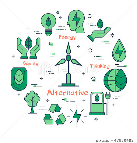 Banner of alternative clean energy with generator 47950485
