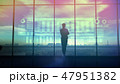 Silhouette of business woman and stock exchange infographics 47951382