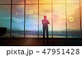 Silhouette of a trader in the office before infographics 47951428