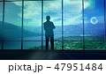 Silhouette of a trader in the office before infographics 47951484