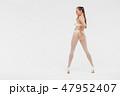 Beautiful sexy slim woman on white background 47952407