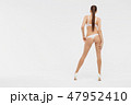 Beautiful sexy slim woman on white background 47952410