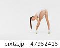 Beautiful sexy slim woman on white background 47952415