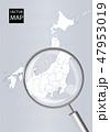 日本地図 虫眼鏡 拡大のイラスト 47953019