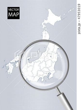 日本地図(グレー):虫眼鏡で拡大された関東甲信越地方の地図|日本列島 ベクターデータ 47953019