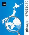日本地図 虫眼鏡 拡大のイラスト 47953020